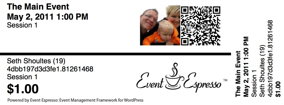 Event Espresso Ticket with Gravatar and QR Code